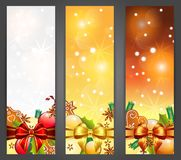Christmas banners. Christmas vertical banners with apples, decorations and gingerbread , illustration Royalty Free Stock Images
