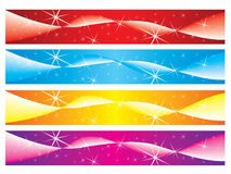 Christmas banners. Set of colourful christmas banners with sparkles and abstract wave. Ready for you text Royalty Free Stock Photos
