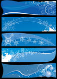 Christmas banners. Five abstract blue christmas banners Stock Images