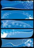 Christmas banners. Five abstract blue christmas banners stock illustration