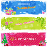 Christmas banners. Set of three candy-colored horizontal holiday banners Stock Photo