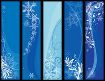 Christmas banners. Five winter banners with space for text vector illustration