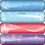 Christmas banners. Five winter banners with space for text royalty free illustration