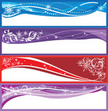 Christmas banners. Five winter banners with space for text Royalty Free Stock Photos