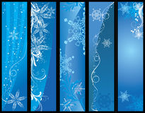Christmas banners. Five christmas banners in blue palette royalty free illustration