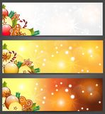 Christmas banners with apples, and decorations. Christmas banners with apples, decorations and gingerbread ,  illustration Royalty Free Stock Photography