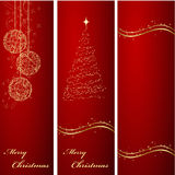 Christmas banners backgrounds. Three vertical ornated red and gold Christmas or New Year backgrounds Royalty Free Stock Photography