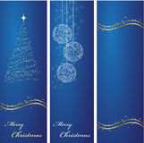Christmas banners backgrounds. Three vertical ornated blue and gold Christmas or New Year backgrounds Royalty Free Stock Images