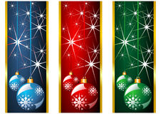 Christmas banners and balls Stock Photography