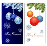 Christmas banners with balls and snowfalls. Magic christmas balls on blue and white background. Vector illustration stock illustration