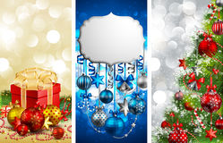 Christmas banners with baubles. Fir tree, gift and place for text. Vector illustration Stock Images