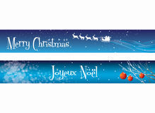 Christmas Banners on Blue Stock Images