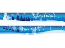 Christmas Banners on Blue Stock Photos