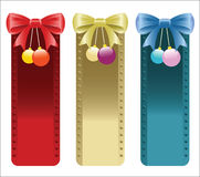 Christmas banners with bows and ornaments in red,gold and blue colors. Stock Photos