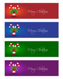Christmas banners. With candy cane in various colors Royalty Free Stock Photo