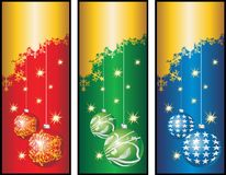 Christmas banners.cdr. 3 vertical christmas greeting cards stock illustration