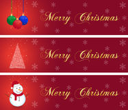 Christmas banners collection. Three christmas banners with hanging balls, tree, and snowman Royalty Free Stock Images