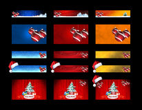 Christmas banners with colored icons Stock Photo