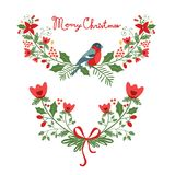 Christmas banners. Colorful Christmas banners with flowers, hollies and leaves. Ideal for invitations and Christmas cards Stock Photo