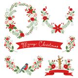 Christmas banners. Colorful Christmas banners with flowers, hollies and leaves. Ideal for invitations and Christmas cards Stock Photography