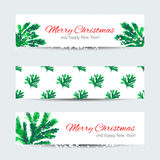 Christmas banners with cristmas tree branches Stock Images