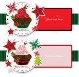 Christmas banners with cupcake Stock Image