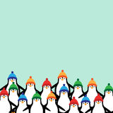 Christmas banners. Cute and abstract christmas card with happy penguins Vector Illustration
