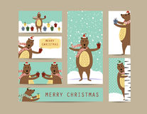 Christmas banners. Cute christmas card and banners with  bear Stock Image