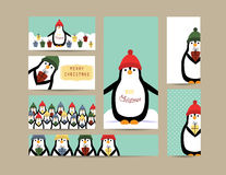 Christmas banners. Cute christmas card and banners with penguins vector illustration