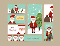 Christmas banners. Cute christmas card and banners with santa Stock Image