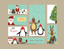 Christmas banners. Cute christmas card with Santa, reindeer, bear and penguin Royalty Free Stock Photos