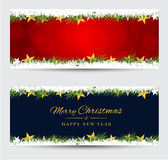 Christmas banners with decorated on background. Festive header d Royalty Free Stock Image
