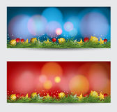Christmas banners with decorated on background. Festive header  Royalty Free Stock Image