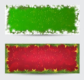 Christmas banners with decorated on background. Festive header  Stock Photos