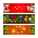 Christmas banners with decorated fir-tree branches. Realistic vector Royalty Free Stock Photos