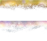 Christmas banners with fallen snowflakes. Royalty Free Stock Image