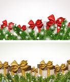 Christmas banners with fir branches gift boxes. Stock Photo