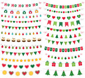 Christmas banners, garlands and decoration set Royalty Free Stock Images