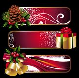Christmas banners with gift,pinecone and holly Royalty Free Stock Photo