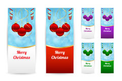 Christmas banners. With hanging balls in various colors Stock Images