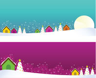 Christmas banners with houses and christmas trees. Stock Images