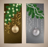 Christmas banners. Illustration of banners with Christmas tree branches, balls, lights, streamers and beads Royalty Free Stock Photo