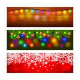 Christmas banners with lights and snowflakes. Christmas banners with lights fir-tree branches and snowflakes realistic vector Royalty Free Stock Image