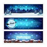 Christmas banners with night winter sky Stock Images