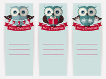 Christmas banners with owls and space for text. Vector set. Royalty Free Stock Photos