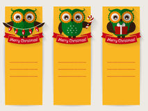 Christmas banners with owls and space for text. Vector set. Royalty Free Stock Photography