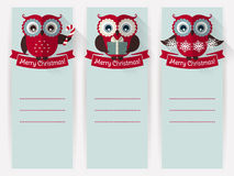 Christmas banners with owls and space for text. Vector set. Stock Photos
