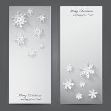 Christmas banners with paper snowflakes. Stock Photos
