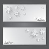 Christmas banners with paper snowflakes. Royalty Free Stock Images