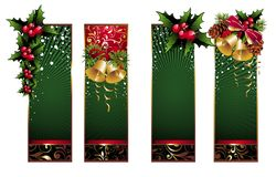 Christmas banners with pinecone,bells and holly. Pinecone bell holly floral leaf christmas snowflake winter vector illustration